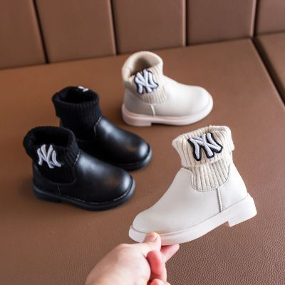 兒童棉靴女童公主靴冬韓版針織加絨短靴寶寶皮靴小女孩馬丁靴劉家琦
