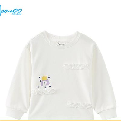 【2件2.5折價:44.8】moomoo童裝女童衛衣2019春秋新款中大童簡約童趣針織套頭衫