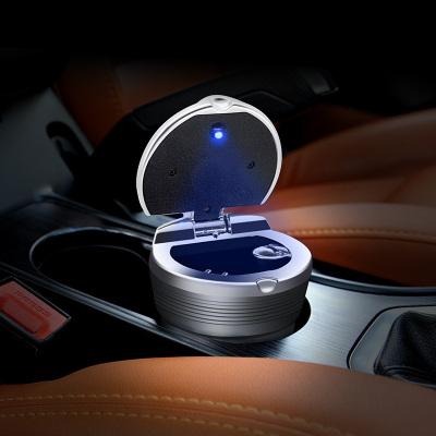 車載煙灰缸閃電客懸掛式創意個性有蓋多功能車內帶蓋汽車煙缸男車用夜光豪華金屬烤漆款【銀色】