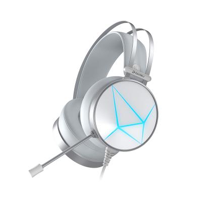 达尔优(dareu) EH722电脑吃鸡耳机3.5+USB头戴式台式笔记本电竞游戏耳麦重低音音乐通用手机带麦挂耳式白色