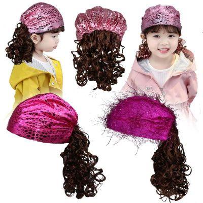 搭啵兔嬰兒公主假發女發箍帽子兒童發飾假發頭飾長卷發假發套T318