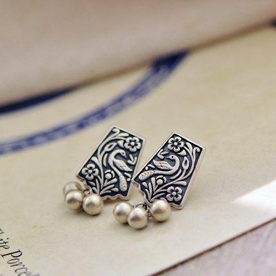 花語詩月S925銀耳釘女花鳥復古文藝個性百搭創意銀耳飾清新簡約銀飾品