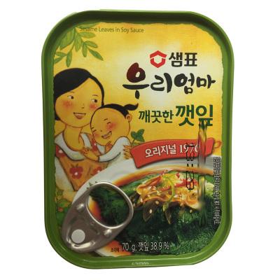 韓國進口膳府原味紫蘇葉罐頭(微辣)70g下飯菜泡菜即食配菜罐頭進口蔬菜罐頭