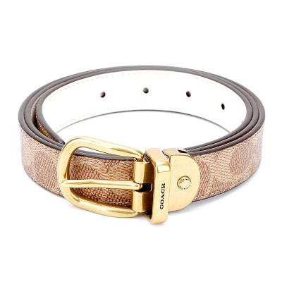 蔻馳 COACH 奢侈品 女士專柜款人造革配皮腰帶皮帶卡其色 箱包配件72685 B4OS5 S