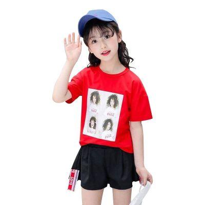 2019新款夏款女童夏裝套裝短袖T恤褲子連帽中大童洋氣運動兩件套 莎丞