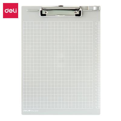 得力(deli) 9240板夾 A4帶刻度金屬強力夾書寫板夾文件夾 灰色