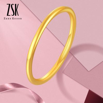ZSK珠寶 黃金戒指女 光圈簡約999足金戒指女士 黃金飾品 三生三世 婚嫁素圈指環金戒指 珠寶首飾 情人節送女友禮物