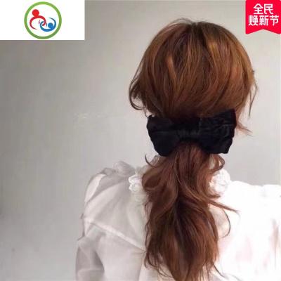 韓國網紅同款大號黑色絲絨蝴蝶結發夾彈簧夾馬尾夾長夾夸張發飾 JING PING