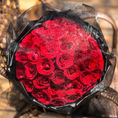 五二零 鮮花速遞全國 送女友老婆愛人生日禮物 33朵紅玫瑰表白祝福道歉花束 深圳廣州上海北京同城花店送花