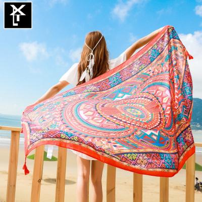 新款沙漠防曬披肩夏季海邊絲巾女超大外搭紗巾沙灘巾百搭長款圍巾