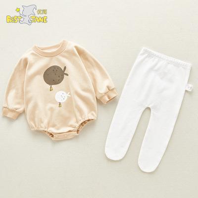 優簡2020春季新款寶寶嬰兒連身衣寶寶衣服嬰童長袖連帽哈衣爬服 兒童套裝(0—3歲)