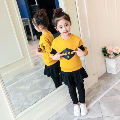 女童春秋装套装小中大童女孩长袖卫衣裤裙两件套休闲装