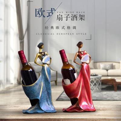 歐式創意美女紅酒架擺件現代簡約家用客廳葡萄酒架紅酒架子裝飾品