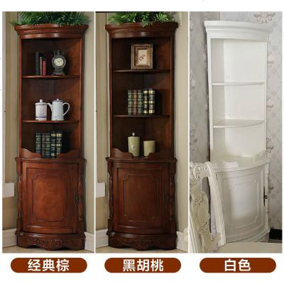 美式角柜 實木墻角柜邊角柜客廳角落柜轉角儲物柜 歐式三角柜酒柜