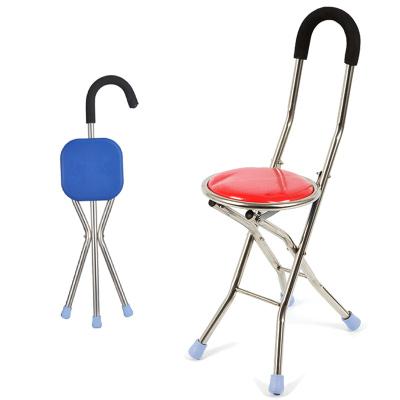 高博士老人拐杖凳子四腳椅凳多功能拐杖椅防滑折疊拐扙老年手杖拐棍 彎形靠背