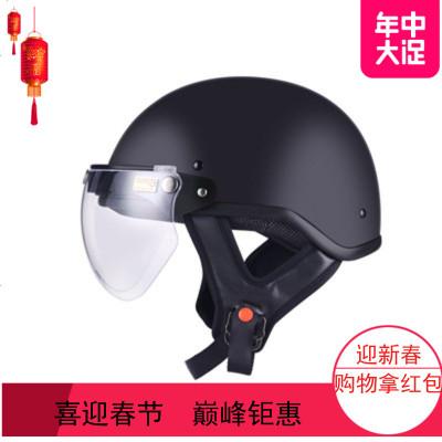 2019踏板摩托车安全帽复古夏季轻便式半盔男女电动车哈雷头盔四季