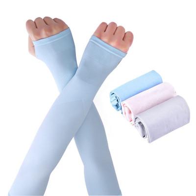 乾越(qianyue)夏季冰爽袖套防曬手套女護臂手臂套袖男袖子開車防紫外線冰絲手套長款