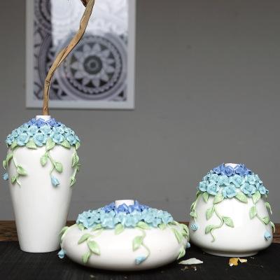 創意陶瓷花瓶擺件 客廳家居桌面裝飾品 禪意工藝品花插