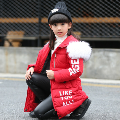 小學生保暖棉服字母印花毛領外套潮兒童小女孩中長款修身棉衣時尚休閑舒適寶寶潮衣御寒