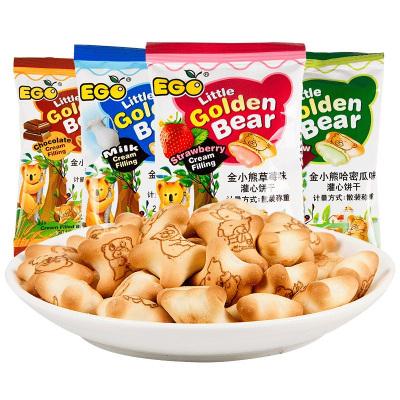 馬來西亞進口EGO金小熊注心夾心餅干(草莓味)300g早餐餅干兒童趣味零食