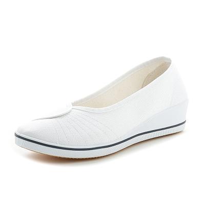 護士鞋女白色坡跟2020小白鞋布鞋平底女鞋中跟休閑鞋 威珺