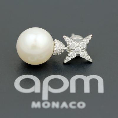 apm MONACO氣質單只小星星珍珠耳釘925銀耳飾時尚穿孔耳墜女士首飾耳環奢華貴族AE11118XPL