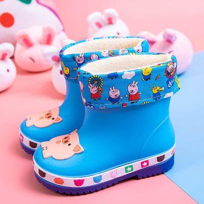 伯孜媚(Baizimei)兒童雨鞋果凍加絨保暖雨靴防滑小童幼兒寶寶卡通可愛豬中童膠水鞋