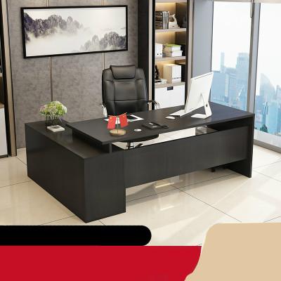 辦公桌帶抽屜老板桌椅組合簡約現代單人辦公室總裁桌經理桌大班臺