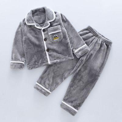 儿童法兰绒睡衣秋冬季款中大男童宝宝珊瑚绒套装小男孩女孩家居服 莎丞