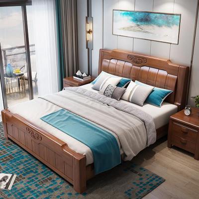 卡愛菲 新中式全實木床1.8米主臥現代簡約雙人床1.5米儲物高箱抽屜床