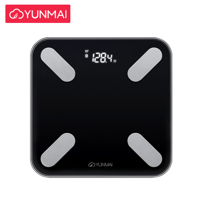 云麦(YUNMAI)好轻mini2S智能家用体脂称健康秤黑色 29项身体数据测量 精准测体脂 钢化玻璃材质 重量1.2KG