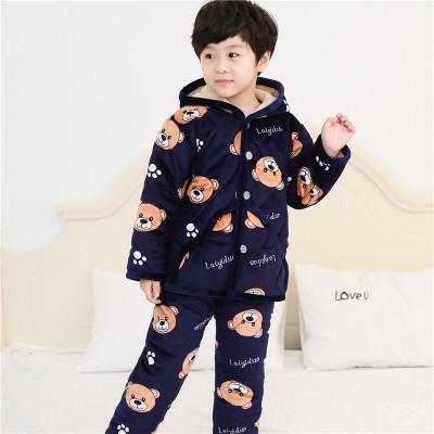冬季儿童睡衣珊瑚绒套装水晶贝贝绒加厚夹棉法兰绒男童小孩中大童纤婗(QIANNI)