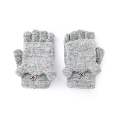 巴拉巴拉兒童手套女童冬季新款加厚保暖針織男童翻蓋半指小熊毛線