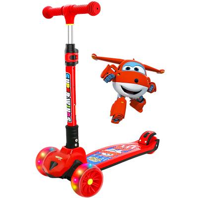 超級飛俠兒童滑板車2-6-12歲 5CM閃光寬輪 更大車身 一秒折疊 踏板車搖擺車滑滑車溜溜車代步PLUS版