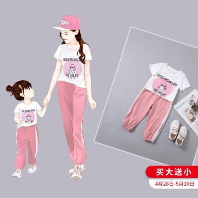 親子裝母女裝超洋氣女童夏裝2019新款韓版潮時尚紅女寶寶套裝夏