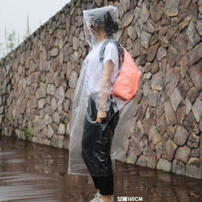 杉清一次性防護雨衣成人透明連體服防水防飛沫袖口束口臨時替代