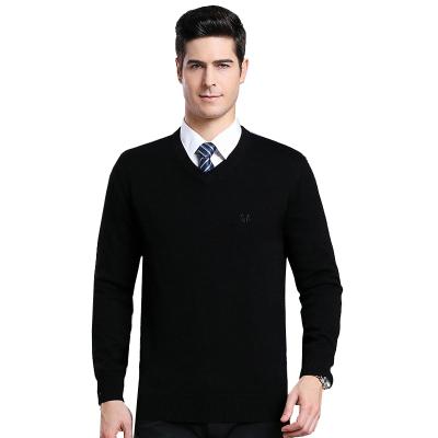 恒源祥男士羊毛衫秋冬新款V领纯羊毛休闲毛衣男士保暖纯羊毛针织上衣