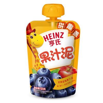 Heinz/亨氏乐维滋苹果蓝莓果汁泥120g 亨氏果泥婴儿果泥吸吸乐 宝宝水果泥辅食宝宝营养零食果汁泥