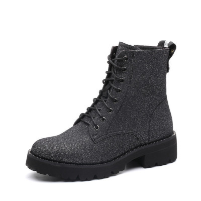 Teenmix/天美意冬專柜同款銀布方跟馬丁靴女短靴CCY41DD7