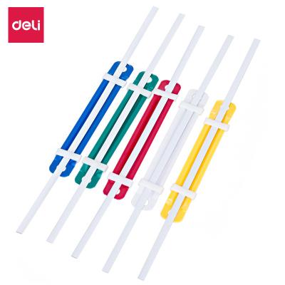 得力deli5548塑料裝訂夾彩色打孔夾兩孔文件小夾條配套80mm打孔機使用(50套/盒)