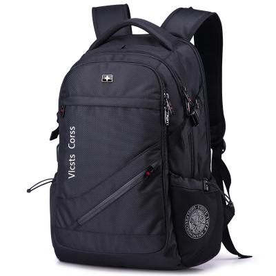 送刀鎖套餐+USB接口 瑞士軍刀背包17英寸雙肩包男電腦包運動休閑包 男女通用書包旅行背包 防水尼龍