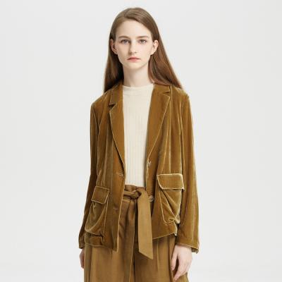 【1件3折价:277.8】MECITY女装家居丝绒西装大口袋短款工装风通勤修身外套女ins潮