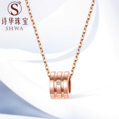 詩華珠寶鉆石項鏈吊墜女真鉆石玫瑰金色大版小蠻腰套鏈吊墜送女友