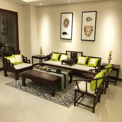 航竹坊 新中式实木沙发组合仿古客厅布艺沙发别墅样板房禅意古典家具定制