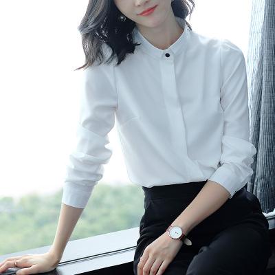 季言姿 2020春夏新款女裝襯衣長袖中長款職業上衣OL雪紡立領白襯衫潮