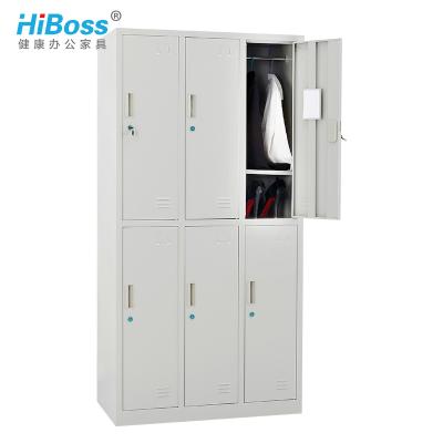 HiBoss 六門更衣柜鐵皮柜員工宿舍柜儲物柜鐵衣柜6門柜帶鎖