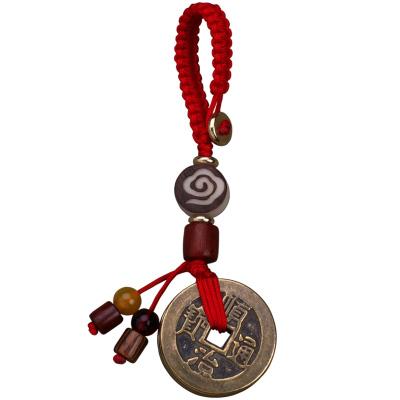 大錢武帝錢五帝錢鑰匙扣男女汽車黃銅手工編織繩創意隨身攜帶個性