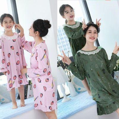 六梨兒童睡裙親子春秋季母女長袖女童睡衣公主裙短袖小女孩裝家居服