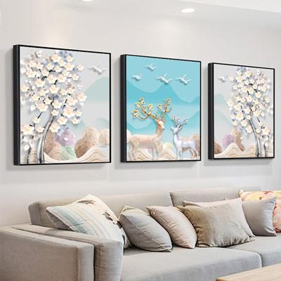 北歐客廳裝飾畫沙發背景墻壁畫古達現代簡約三聯畫臥室 卡其色 80*80【適合4米左右墻面】大氣木紋框【免打孔】整套價格【