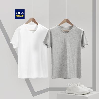 HLA海瀾之家男裝V領短袖T恤2019春季新品男士打底汗衫兩件裝-HUAAJ1R010A